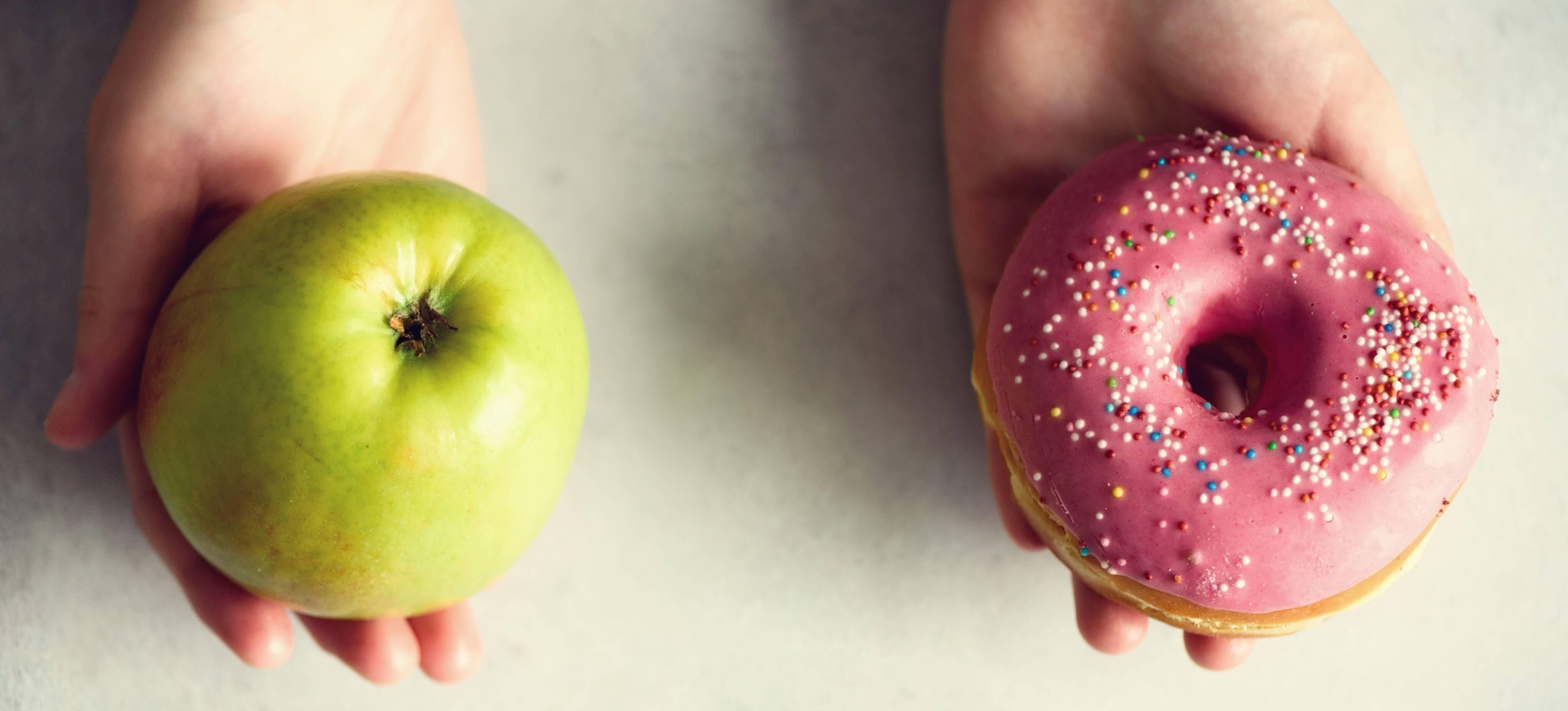 Apfel und Donut Vergleich