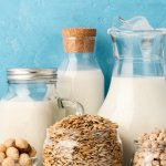 Verschiedene Arten von laktosefreien vegetarischen Milchprodukten.